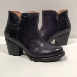 Bed Stu Yell Navy Rustic Leather Heel Boots